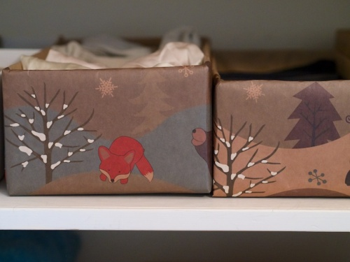 I covered the shoe boxes I use to keep my shelves tidy in woodland wrapping paper. The fox makes me smile every time I open the closet!